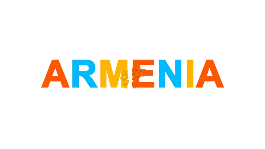 Country name ARMENIA from letters of different colors appears behind small squares. Then disappears. Alpha channel Premultiplied - Matted with color white | Shutterstock HD Video #1007559781