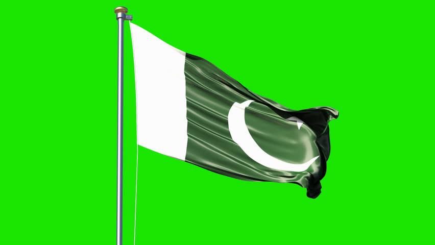 Waving Pakistan flag isolated on green screen video. Pakistan flag video