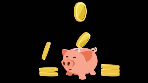 Cartoon animation falling money coins past the pink piggy bank. Alpha channel
