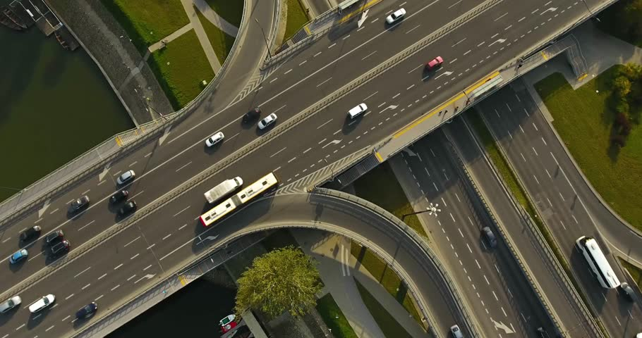 Overhead Aerial View Of Highway. Revealing Background in Warsaw, Poland
