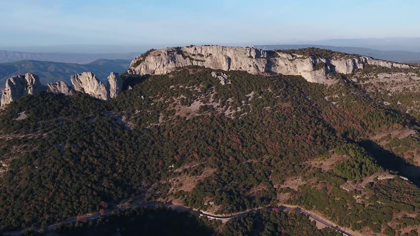 Provence mountains in France from the sky / Col de l