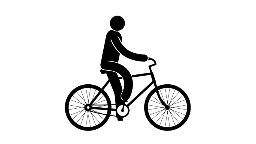 f015715f639 Pictogram man riding a walking bike. Looped animation with alpha channel.