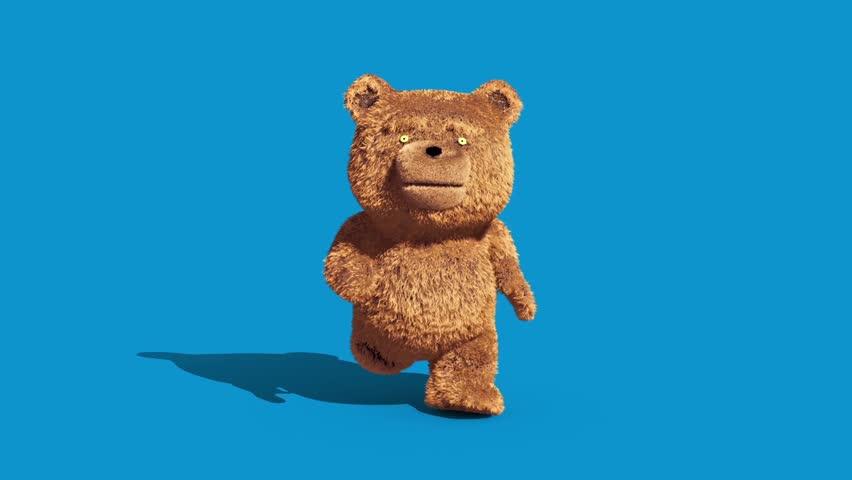 Teddy Bear Real Fur Runcycle Front Blue Screen Loop 3D Renderings Animations | Shutterstock HD Video #1007678671