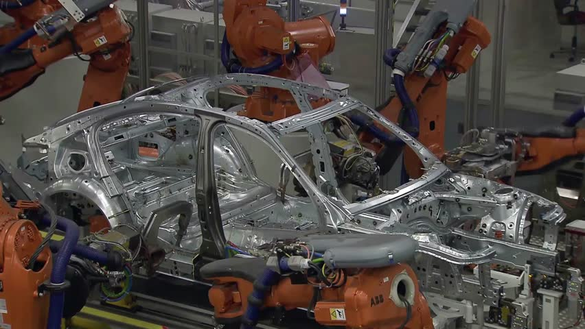Robotics work in production line of car parts at factory | Shutterstock HD Video #1007726251