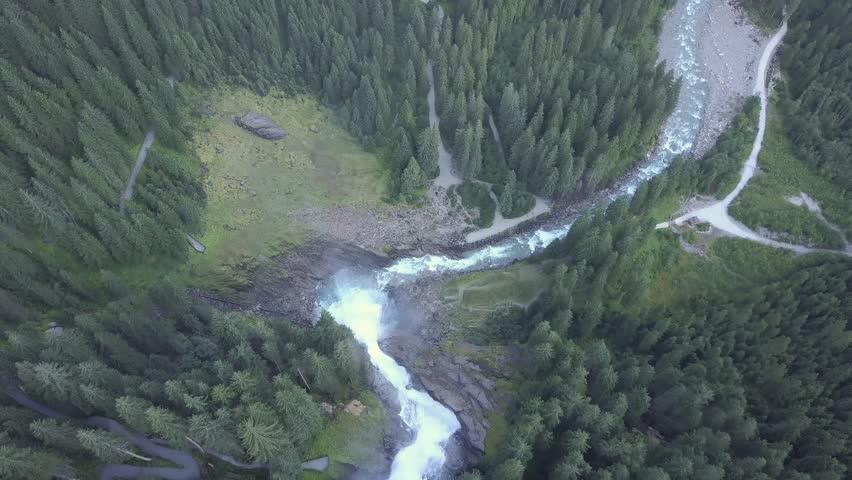 Aerial view of Krimml waterfall Austria