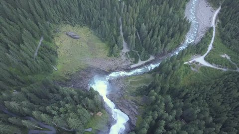 Aerial view of Krimml waterfall Austria