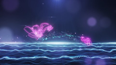 Abstract glamorous blue-pink field with flying butterfly