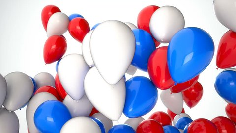 3D CGI video of red, white and blue balloons flying up over white background. Perfect animation for holidays and celebrations