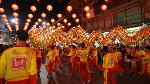 Nakhon sawan,Thailand -18 February 2018 : Chinese New Year with parades adorned with beautiful lamps have many visitors at Nakhon sawan province ,Thailand.