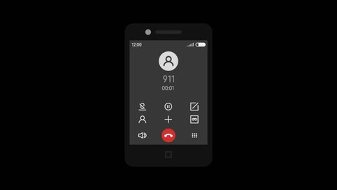 Call 911 Mobile Phone. Transparent Background. 2 Animation Options. Motion Graphics.