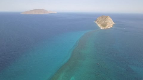 Aerial panoramic views of isla San diego, Baja California  Sur, Mexico. Sea of cortez.