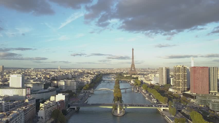Aerial of Paris Eiffel Tower and Seine River