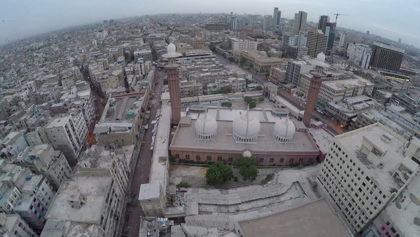Aerial Mosque shot , drone shot of Karachi city, metropolitan city, largest city in Pakistan