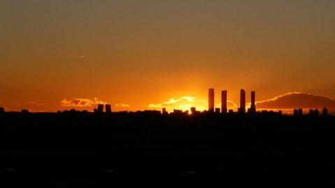 Madrid skyline at night.  Filmed on February 20, 2018.