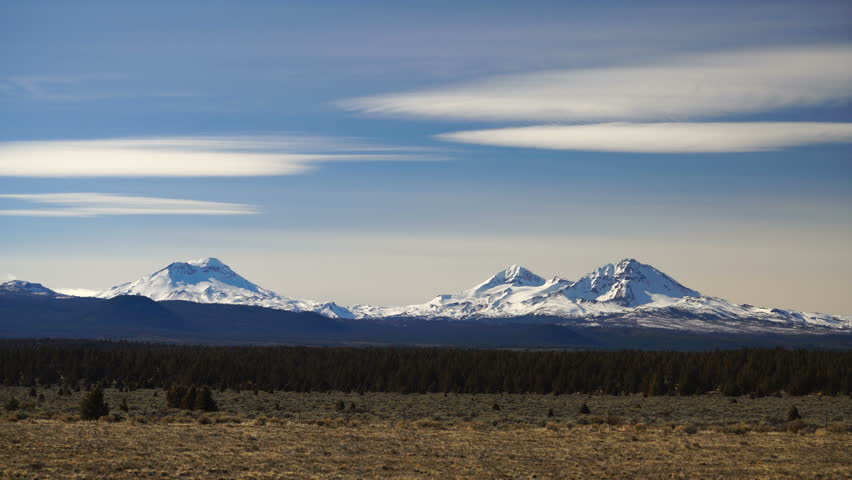 Weather Passes Clouds Over Cascade Range Three Sisters Mountains Oregon