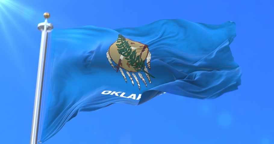 Flag of american state of Oklahoma, region of the United States, waving at wind - loop