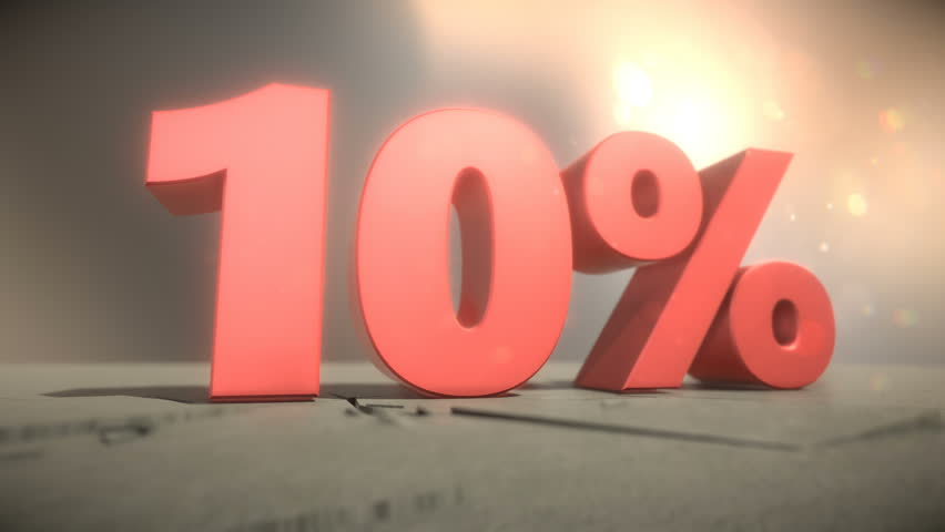 3d animation of 10 percent discount falling sign