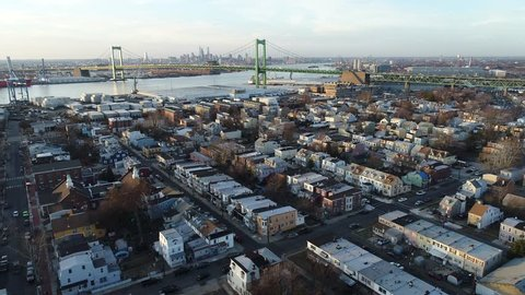 Aerial View of Delaware Riverfront Port City Gloucester New Jersey