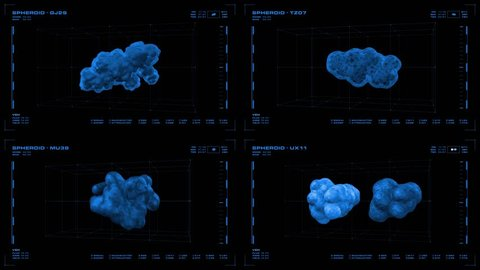 Monochromatic, four-panel display screen of rotating 3D pathogen, microbe or virus, and related data. Reversible, seamless loop.