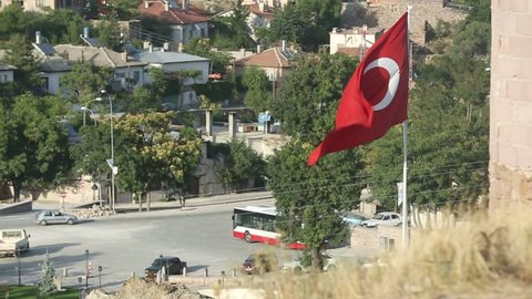 sille Castle with Turkish Flag aerial , konya