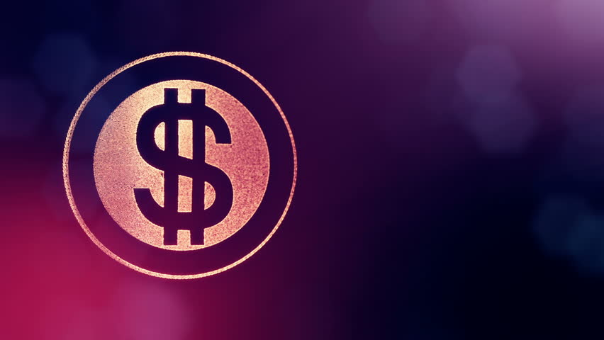 Dollar sign in rings. Finance background of luminous particles. 3D loop animation with depth of field, bokeh and copy space for your text. purple color v1 | Shutterstock HD Video #1008027331