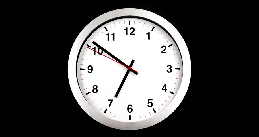 it's seven o'clock already, time to wake up for breakfast, modern white metallic alarm wall clock on black background