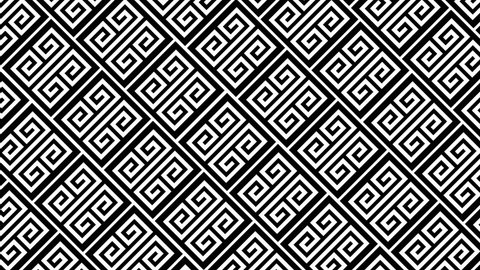 Black and white animated background featuring a seamless Greek style pattern sliding across screen. Perfect for masks,  overlays, mapping textures or as an elegant Art Deco background.