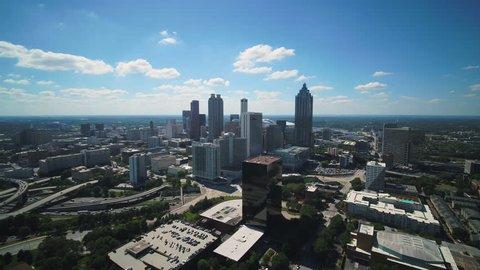 Atlanta Aerial v352 Flying over downtown area sunny cityscape 11/17