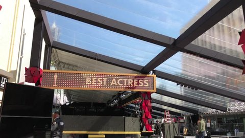 LOS ANGELES, MARCH 1ST, 2018: The red carpet area under construction as preparations for the 90th Academy Awards are underway at the Dolby Theatre in Hollywood. The ceremony will be held on March 4th.