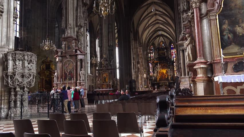 VIENNA, AUSTRIA - SUMMER, 2017: Interiors of St. Stephen's Cathedral. Stephansdom. Vienna, Austria. Shot in 4K (ultra-high definition (UHD)). | Shutterstock HD Video #1008171541