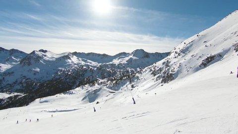 Beautiful winter mountains on a bright sunny day, Canillo ski region, Andorra.