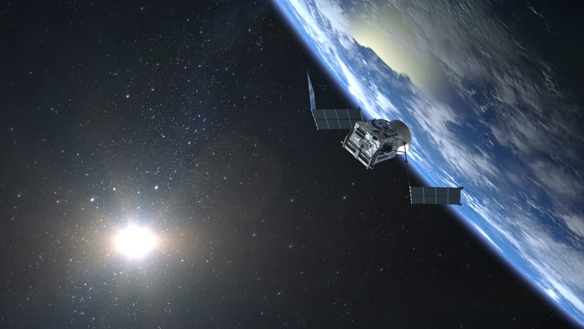 The satellite scan and monitor the Earth. The satellite opens solar panels. The earth rotates slowly. The earth is on the screen at the top. 4K. | Shutterstock HD Video #1008191401