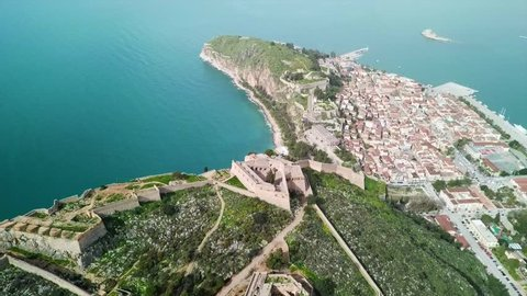 Aerial drone video from picturesque and famous city of Nafplio former capital of Greece, Argolida, Peloponnese