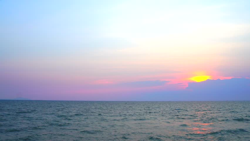 Sea, seascape, ocean, nature background. Idyllic seascape: clean water, waves, blue sky, horizon. Sea water surface texture, nature, resort, vacation 4k video background.
