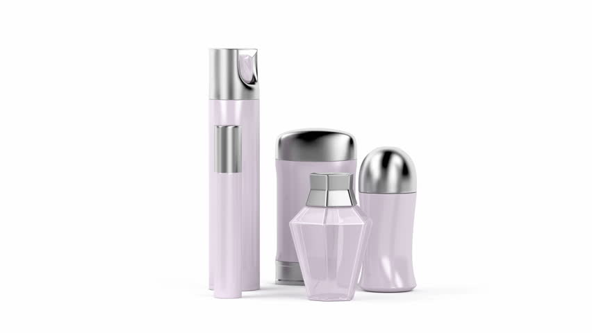 Set of female cosmetic products (perfume, body sprays, roll-on and stick antiperspirant deodorants)