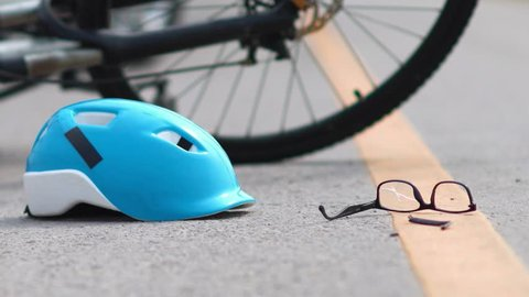 Drunk driving accident , car crash with bicycle on road