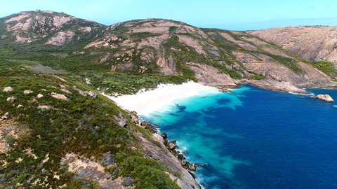 Aerial view of picturesque coastline scenery of Hellfire Bay, paradise beach with white sand and crystal clear waters of Southern Ocean - Cape Le Grand, Esperance, Western Australia from above, 4k UHD