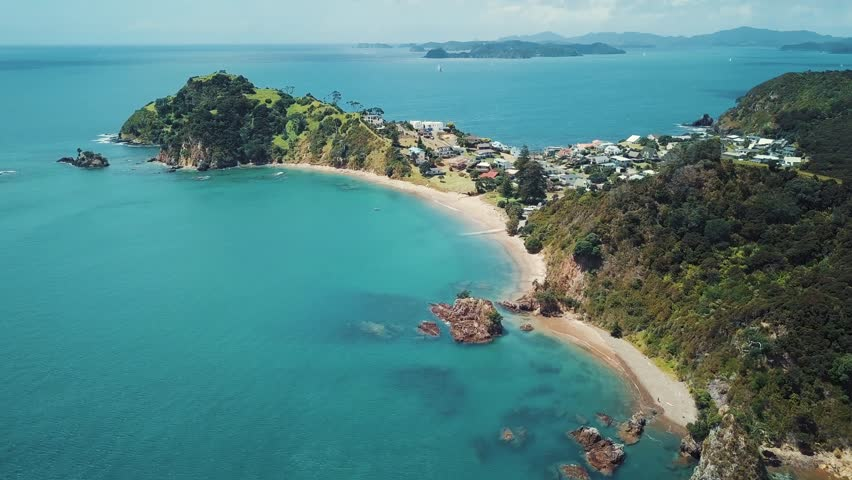 Tapeka Point Beach, Russell New Zealand Bay Of Islands, Aerial 4k Footage  | Shutterstock HD Video #1008272461