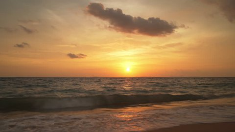 Picturesque timelapse of sun setting over Andaman sea (Indian ocean), Thailand.
