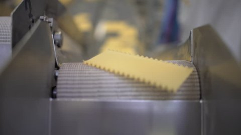 Great closeup shot of dried sheets of lasagne pasta passing on a conveyor belt in a pasta factory. Italian food and gastronomic traditions.