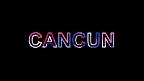 Russia, Ekaterinburg - March 09, 2018: Letters are collected in International Airport CANCUN, then scattered into strips. Bright colors. Alpha channel Premultiplied - Matted with color black