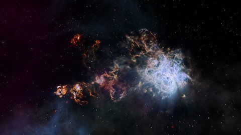 Fly Through In Tarantula Nebula is motion footage for scientific films and cinematic in space. Also good background for scene and titles, logos.