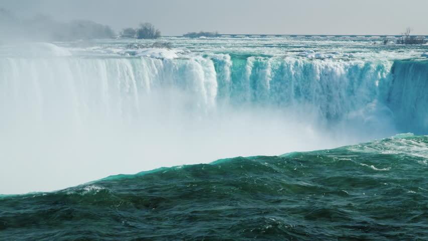 Niagara Falls in the winter season. The waterfall of the horseshoe.