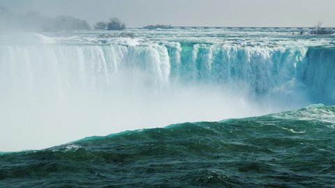 Niagara Falls in the winter season. The waterfall of the horseshoe.