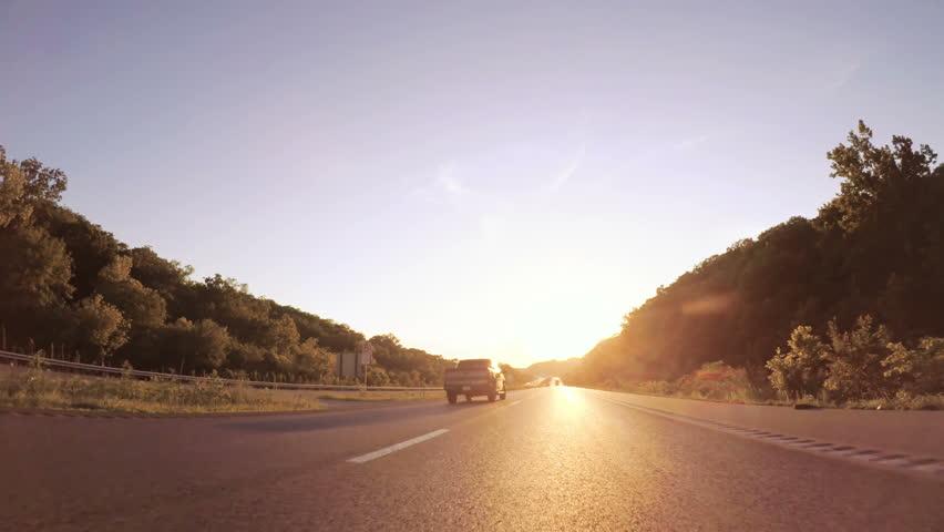 Kansas, USA-July 15, 2017. POV point of view - Driving West on Interstate highway 70 through Kansas.   Shutterstock HD Video #1008403891