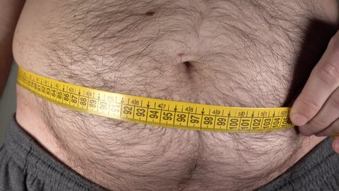 Man fat belly measurement, 4k 2160p video footage