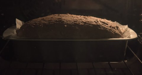 Delicious baked bread loaf, 4K Time-lapse.
