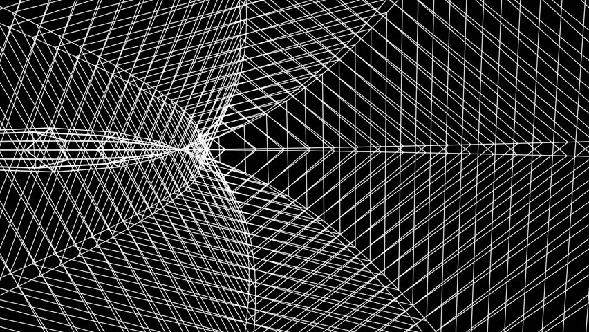 Grid net spider web tunnel abstract drawing polygonal motion graphics seamless loop animation background new quality retro vintage style cool nice beautiful 4k video footage | Shutterstock HD Video #1008481111