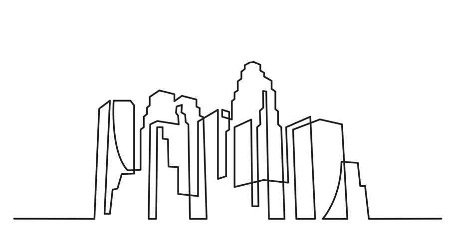 Animation of continuous line drawing of big city skyline