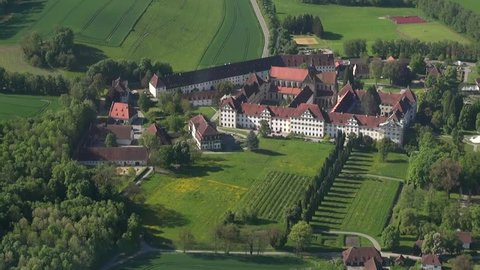 Salem Monastry - Flight over landscape in southern Germany, view to vineyards,apple orchards,agriculture, Lake Constance (Bodensee) near Markdorf with a zeppelin, may 2013, spring time,